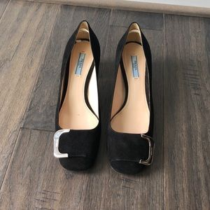 Prada Buckle Toe Block Heel